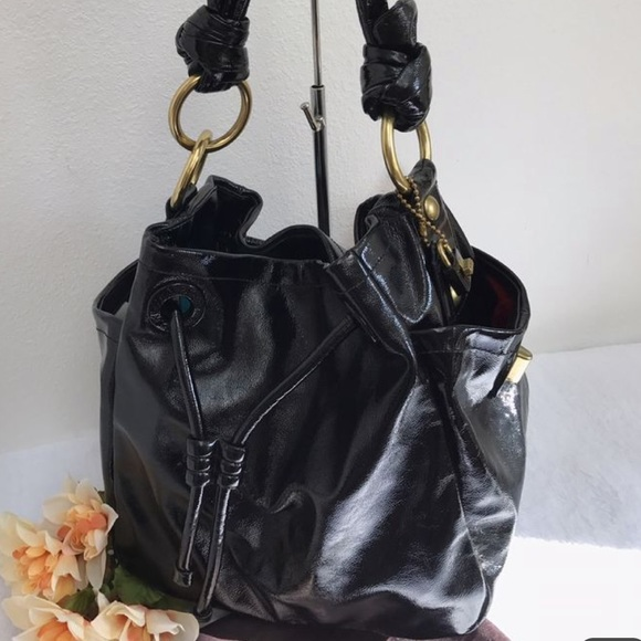 a1e59c16038 SALE! Coach Black patent leather tote bag purse